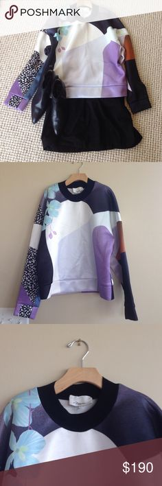 RARE! 3.1 Phillip Lim Abstract Sweatshirt L Gorgeous and Rare! 3.1 PHILLIP LIM Sweatshirt. multicolor abstract pattern, round collar, long sleeves, no appliqus, no pockets, large sized. 100% Polyester. Combo: 82% Rayon 18% Lycra. Minor pilling on underarm by armpit. Not noticeable while worn. 3.1 Phillip Lim Tops Sweatshirts & Hoodies