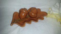 ***SOLD*****$10--Vintage Set of Ceramic Acorn Salt & Pepper Shakers on Leaf Plate by JunkYardBlonde on Etsy