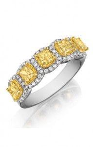 Princess Cut Diamonds with Halos - 5 stones -