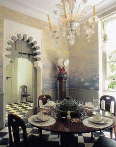 Monet-esque water lilies by Mériguet-Carrère envelops the dining room at Villa Léon l'Africain, Tangier.