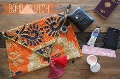 DIY Boho Clutch. also love the idea of making simple waist bands with pockets... not a fanny pack, but... a fanny pack lol!