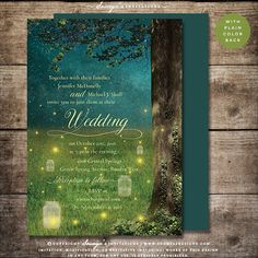 Enchanted Forest Wedding Invitation, Woodland Wedding Invitation, Rustic Wedding Invitation, Fireflies Wedding Invitation, Barn Wedding Invitation, Outdoor Wedding Invitation by Soumya's Invitations