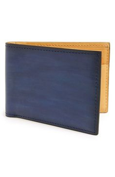Men's Magnanni 'Arkansas' Leather Bifold Wallet - Blue