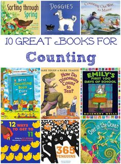 Learn to count to 10 or 100 -- awesome books about numbers | 100th day of school ideas