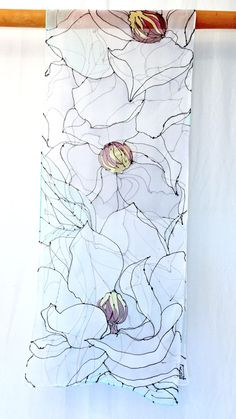 Hand Painted Silk Scarf White Magnolia By Silkscarvestakuyo Chiffon Clothes