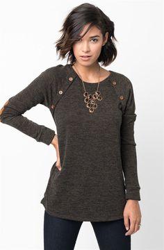 Button Raglan Knit Pullover