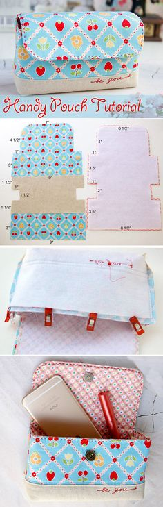 Handy Pouch Bag Tutorial. All in one handy pouch. Tutorials with pictures. Шьем удобную сумочку. http://www.handmadiya.com/2015/09/handy-pouch-bag-tutorial.html