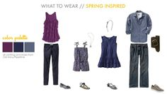 fashion for family portraits what to wear purple blue