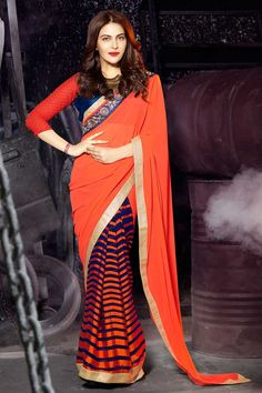 orange bleu georgette saree filet avec chemisier en soie d'art prix:- 56,77 € nouvelle collection de saris concepteur d'arrivée sont maintenant en magasin présenté par Andaaz la mode comme le bleu georgette orange, saree filet avec chemisier en soie d'art. agrémenté de broderies, Zari, Pallu, asymétrique blouse de cou, manches trimestre, chemisier. cette robe est préfet pour la fête, mariage, http://www.andaazfashion.fr/blue-orange-georgette-net-saree-with-art-silk-blouse-dmv7798.html