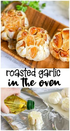 Roasted Garlic in the Oven- how to roast garlic in the oven. Use for mashed potatoes, etc. Garlic Recipes, Veggie Recipes, Appetizer Recipes, Vegetarian Recipes, Cooking Recipes, Cooking Courses, Skillet Recipes, Pizza Recipes, Appetizers