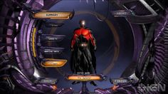 The character creation screen of the User Interface from the online MMO DC Universe Online. The interface is an example of how the game seems to get the users to feel in control of their experiences with the game. The completely customizable experience allows for a more immersive experience.