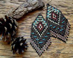 Navajo Loom..Beaded Fringe Earrings Native American Inspired
