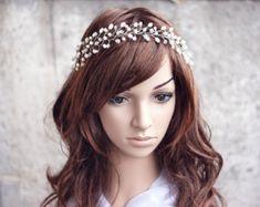 Corona de la boda tiara de plata cristal de halo por ArsiArt