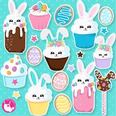 BUY 20 GET 10 OFF Easter bunny cupcakes clipart clipart commercial use vector graphics digital clip art digital images - by Prettygrafikdesign Wrapping Ideas, Cupcake Clipart, Easter Bunny Cupcakes, Image Paper, Easter Candy, Easter Eggs, Create Invitations, Digital Scrapbook Paper, Paper Decorations