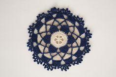 Cobalt Snowflake Hotpad - I Like Crochet ~ Feb 2016