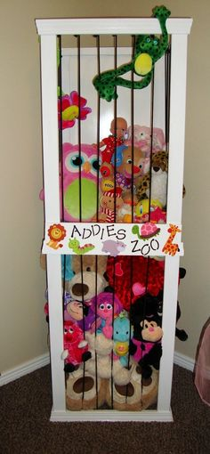 """Perfect for those big kids that have a zoo of stuffed animals. For all those stuffed animals Mimi will be buying.LOL - Basic directions for building a stuffed animal storage """"zoo"""" from The Keeper of the Cheerios: Addies Zoo Diy Stuffed Animals, Stuffed Toys, Stuffed Animal Zoo, Stuffed Animal Holder, Organizing Stuffed Animals, My New Room, Home Organization, Organizing Ideas, Organizing Solutions"""