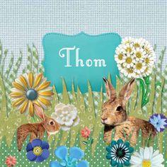 Geboortekaartje Thom - vrolijke collage met konijnen in het bloemen gras - www.petitkonijn.nl