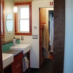 thisoldhouse.com | from Best Bath Before and Afters 2012  I like this idea for a double vanity.  Overall I like the clean lines