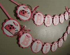 Ladybug Birthday Banner Pink Birthday Party Decor  by wittypaper, $20.00