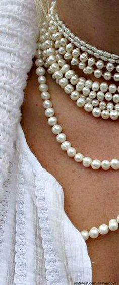 ~Strands of Pearls | The House of Beccaria Just the way I like to wear them....strand, after strand, after strand.