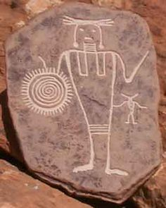 http://petroglyphtrail.com/warrior.jpg - Replica of Fremont Warrior from the Four Corners region (parts of Arizona/Utah/New Mexico/Colorado)