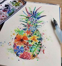Floral pineapple @milenadrawws #WinsorAndNewton #WinsorNewton