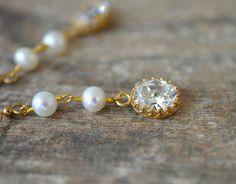 Pearl chain dangle earrings Cubic zirconia long linear earrings Delicate gold rosary chain pearl earrings Bridal wedding jewelry for bride