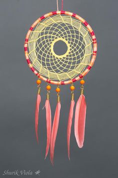 American indian spiritual accessory to protect dreams. According to the legend, dreamcatcher catches bad dreams, keeping them untill the morning when they disappear with the light. It is also a nice decorative accesory for people who like american indian, hippie and boho styles. Diameter