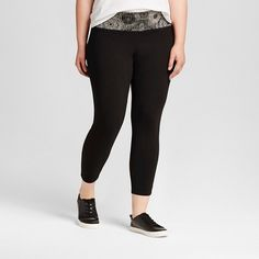 bb3307b4da Women's Plus Size Yoga Capri Leggings with Printed Waistband Black/White  Print - Mossimo Supply Co.