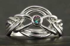 Alexandrite mystic topaz 6 band puzzle ring