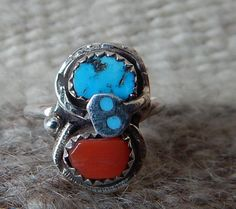 Effie size 8 ring sterling turquoise coral Native American jewelry southwest jewelry  quarter horse Texas harley davidson ring pow wow by LittleCherokeeValley on Etsy