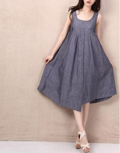Burn/Women Clothing Plus Size Petite Maternity Day Party Prom Casual Sundress Handmade Summer Maxi Hot Chic Linen Cotton Blue Dress ALL SIZE