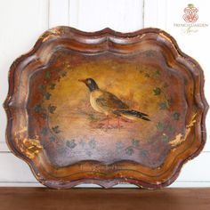 Exceptional Antique Hand Painted Tole Tray Oiseau