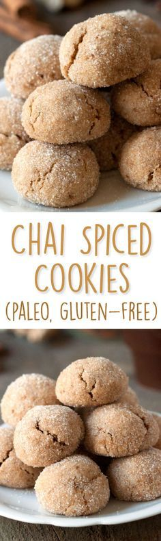 Paleo Chai Spiced Cookies are perfect for fall! I mixed some ginger, cinnamon, cardamom and cloves into the batter. These delicious paleo cookies turned out soft and chewy. As well as being paleo, these chai spiced cookies are also gluten-free, grain-free Gluten Free Sweets, Healthy Sweets, Dairy Free Recipes, Whole Food Recipes, Cooking Recipes, Fall Recipes, Healthy Recipes, Weight Watcher Desserts, Low Carb Dessert