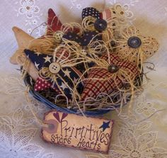 Primitive Star and Heart Bowl Fillers with by NottinghamCottage, $16.95