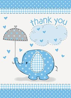 Umbrella Elephant Boy Baby Shower Thank You Notes w/ Envelopes (8ct) | Your #1 Source for Baby Products