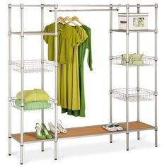 Honey Can Do Freestanding Steel Closet with Basket Shelves ($400) ❤ liked on Polyvore featuring home, home improvement, storage & organization, shelves and no color