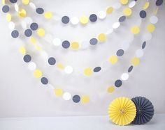 Yellow and Gray 20ft Garland /////// Yellow by BeeBuzzPaperie, $22.00