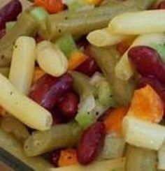 This traditional three bean salad tosses green beans, wax beans, and kidney beans together with a warm vinaigrette dressing and is marinated overnight for maximum flavor. 3 Bean Salad, Three Bean Salad, Bean Salad Recipes, Soup And Salad, Pasta Salad, Tomato Salad, Salad Bar, Cooking Recipes, Healthy Recipes