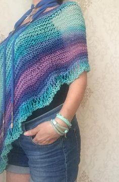 e2a5b1f110a86b Cotton summer poncho, loose knit boho chic, summer cover up, colorful poncho,  summer kmit fashion, h