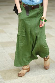 green, long summer skirt with pockets and belt