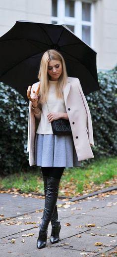 #fall #fashion / pastel blue + cream coat