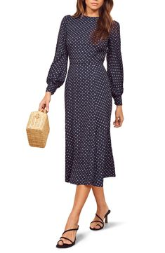 Find and compare Reformation Abigaile Long Sleeve Dress across the world's largest fashion stores! Unique Dresses, Dresses For Sale, Dresses For Work, Dresses With Sleeves, 1930s Fashion, Victorian Fashion, Cute Fashion, Women's Fashion, Art Deco Dress