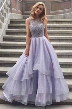Lavender Sleeveless Scoop Tiered Tulle Prom Dress with Beads,Prom Dress Long,Formal Dress,N365