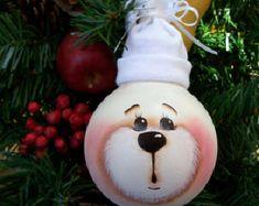 Hand Painted Light Bulb/ White Bear Light Bulb Ornament/Handmade Bear/Recycled Light Bulb/Christmas Tree Ornament/By Treasures To Share