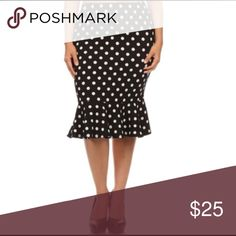 NWT MOA Collection Polka Dot Mermaid Skirt Sz 2x MOA Collection Women's Black and White Polyester/Spandex Polka Dot Mermaid Skirt Revitalize your wardrobe with this black and white polka dot skirt. The mid length and high waist emphasize your curves, while the ruffled mermaid-style hem provides a fun look. SIZE 2x stretchy so could fit a 1x as well.   Made from polyester and spandex for comfort and longevity Machine-washable skirt Black skirt with white polka dots for a flirty look Moa Moa…
