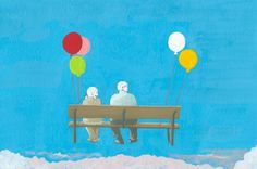 Elderly couple fly with balloon.