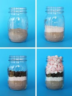 Hot coco with peppermint, chocolate chips, and marshmallows in a mason jar.  Great Christmas gift!