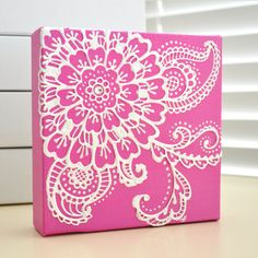 White on Fuschia Pink Floral - Henna Style Original Painting - 6x6 Canvas $35.00, via Etsy.