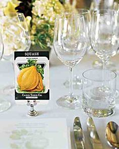 Instead of numbers, this couple chose their favorite seed packets to grace tables at their farm-fresh wedding.
